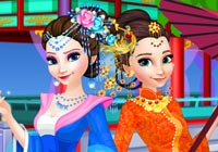 Elsa And Anna Chinese Dressup